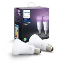 KOMPLEKTAS 2x Pritemdoma LED lemputė Philips HUE, balta AND COLOR AMBIANCE E27/9W/230V 2000-6500K
