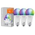 RINKINYS 3x LED RGB Pritemdomos lemputės SMART + E27 / 9,5W / 230V 2700K-6500K - Ledvance
